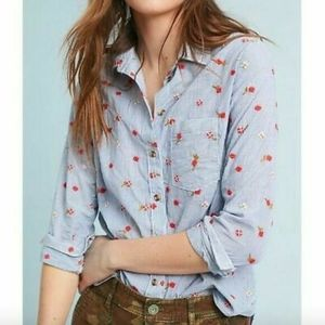 Anthropologie Maeve Agda Embroidered Button Down S